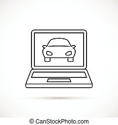 Car on the monitor outline icon