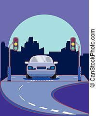 Car on the road design