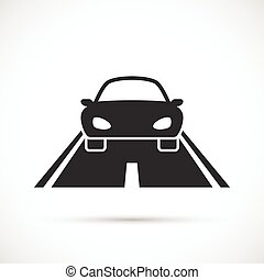 Car on the road icon