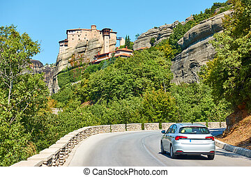 Car on the road in Meteora - Car on the road to The ...