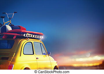 Car on the road ready for summer holiday. 3D Rendering