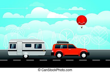 Car on the way vector illustration