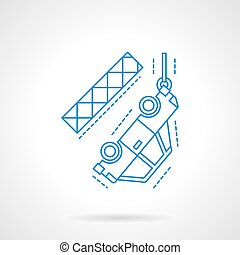 Car on tow hook flat line vector icon