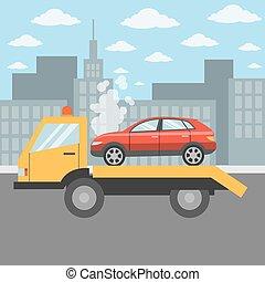 Car on tow truck. - Car on tow truck on the city street. Car...