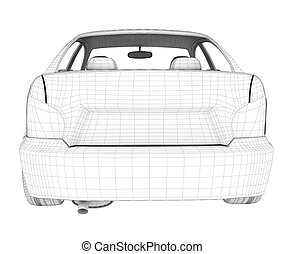 Car on white, back view