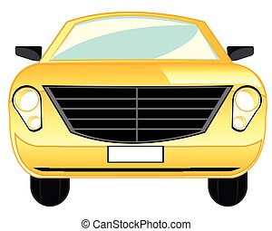 Car on white - Yellow passenger car on white background is ...
