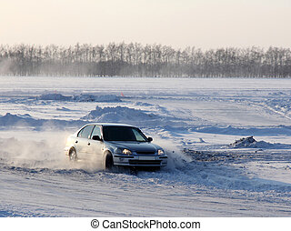 Car on winter road.