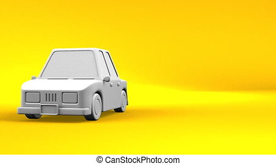 Car On Yellow Text Space. Loop able 3DCG render Animation.