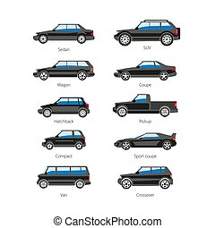 Car or automobile body type names vector flat isolated icons...
