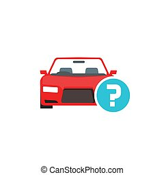 Car or automobile with question mark vector symbol, flat cartoon auto with doubt status icon isolated clipart