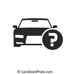 Car or automobile with question mark vector symbol, flat cartoon black and white auto with doubt status or buying advice icon or pictogram isolated clipart
