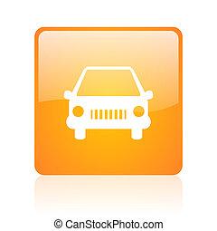 car orange square glossy web icon