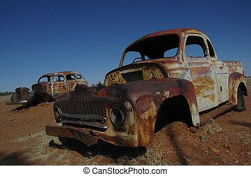 car, outback, austrália, destruição