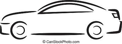 car, outline.