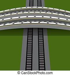 Car overpass crossing the railway. An arch bridge. illustration