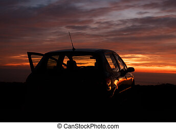 car, pôr do sol, fundo