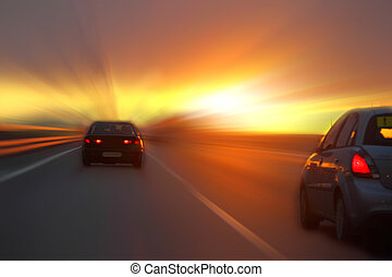 car, pôr do sol, rodovia
