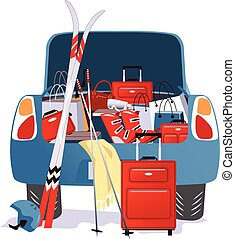 Rear view of a car with an open trunk, stuffed with luggage and sport equipment, vector illustration