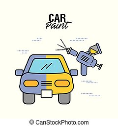 car paint service airbrush color vector illustration