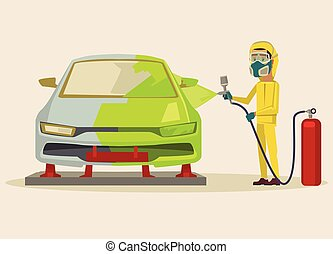 Car painting. Vector flat cartoon illustration