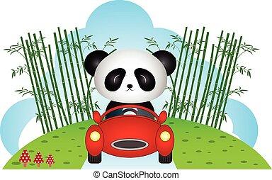 car, panda, dirigindo