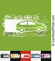 car paper sticker with hand drawn elements