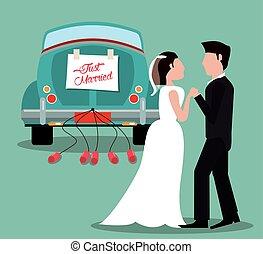 car, par, casado, apenas, vindima