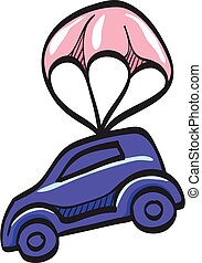 Car parachute icon in color drawing. Insurance protection investment transportation