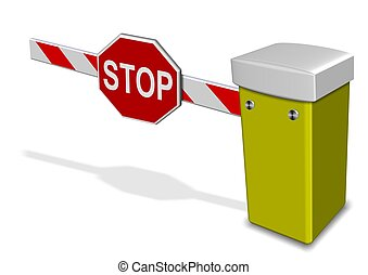A 3d illustration of a car park barrier