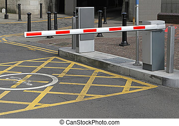 Car park barrier - Rising arm access barrier at car park
