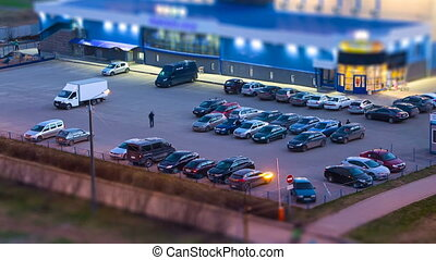 Car park in the twilight, time lapse video