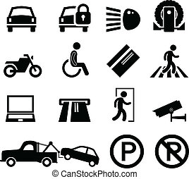 A set of car park reminder and information icons.