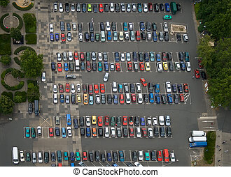 Car Park - Car parking place from above.