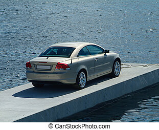 Car parked on a pier - Sportscar parked on a floating ...