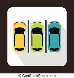 Car parking icon in flat style