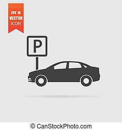 Car parking icon in flat style isolated on grey background.