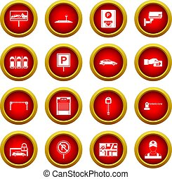 Car parking icon red circle set