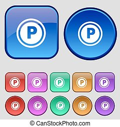 Car parking icon sign. A set of twelve vintage buttons for your design. Vector