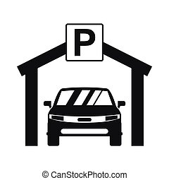 Car parking icon, simple style