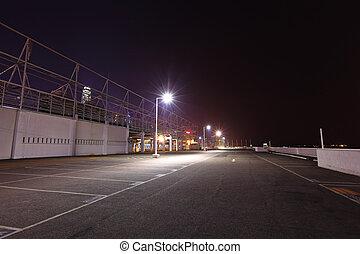 car parking lot at night
