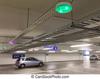 Car Parking lot sensors on ceiling,