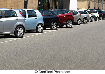 Car parking lot, with copy space on low/right area