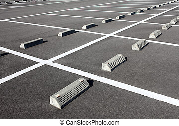 Car parking lot with white mark