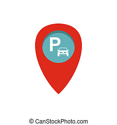 Car parking pointer icon, flat style