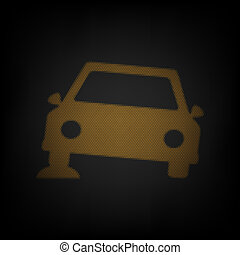 Car parking sign. Icon as grid of small orange light bulb in darkness. Illustration.