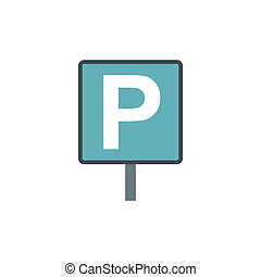 Car parking sign icon, flat style