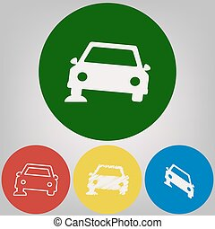 Car parking sign. Vector. 4 white styles of icon at 4 colored circles on light gray background.