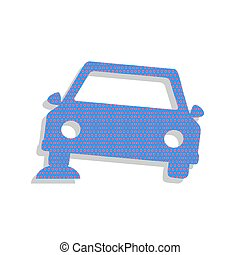 Car parking sign. Vector. Neon blue icon with cyclamen polka dot