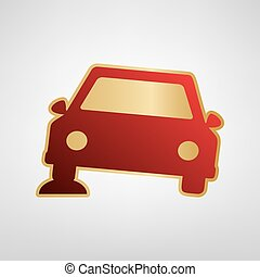 Car parking sign. Vector. Red icon on gold sticker at light gray background.