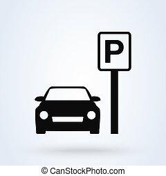 Car Parking Simple vector modern icon design illustration.
